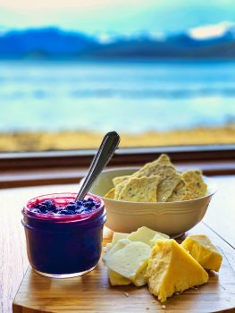 Blueberry Rhubarb Chutney with Rosemary Thyme Crackers